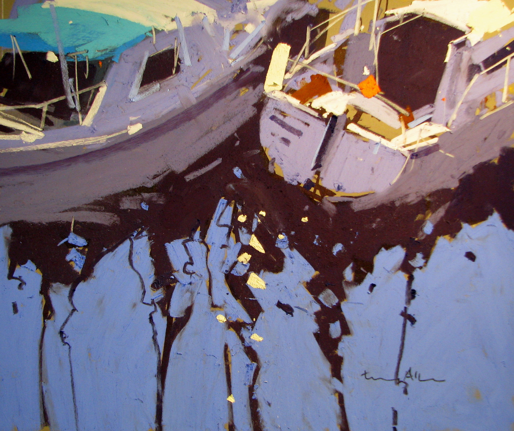 "Tony Allain, ""Marina Reflections,"" 2014, pastel on Pastel Premier paper, 10 x 14 in"