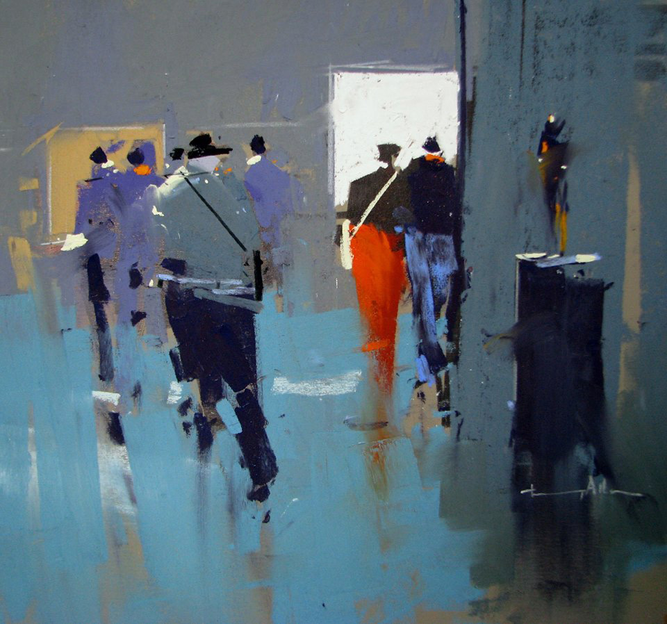 """Tony Allain, """"Private View,"""" 2016, pastel on Colourfix paper, 9 x 12 in"""