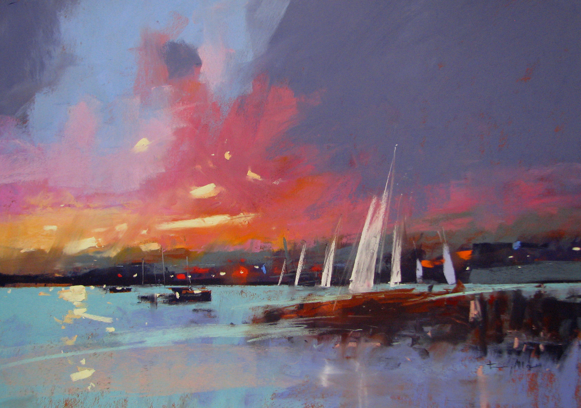"Tony Allain, ""Sunset on the Fal,"" pastel on Colourfix paper, 18 x 26 in"