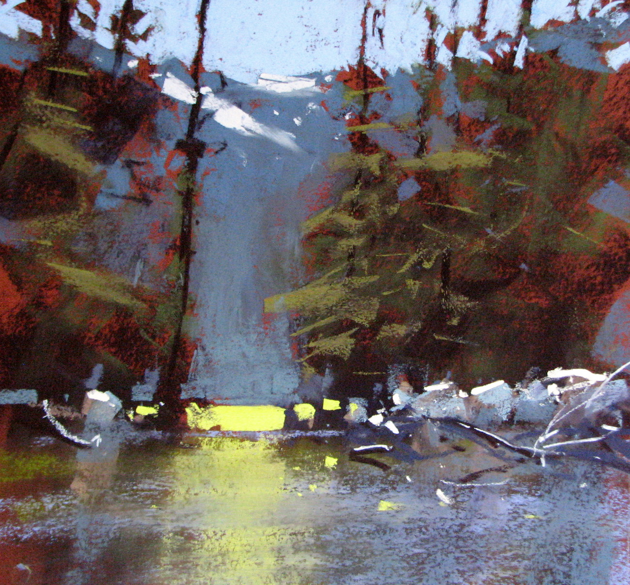 "Tony Allain, ""Sparkes Lake,"" pastel on Pastel Premier paper, 16 x 16 in"