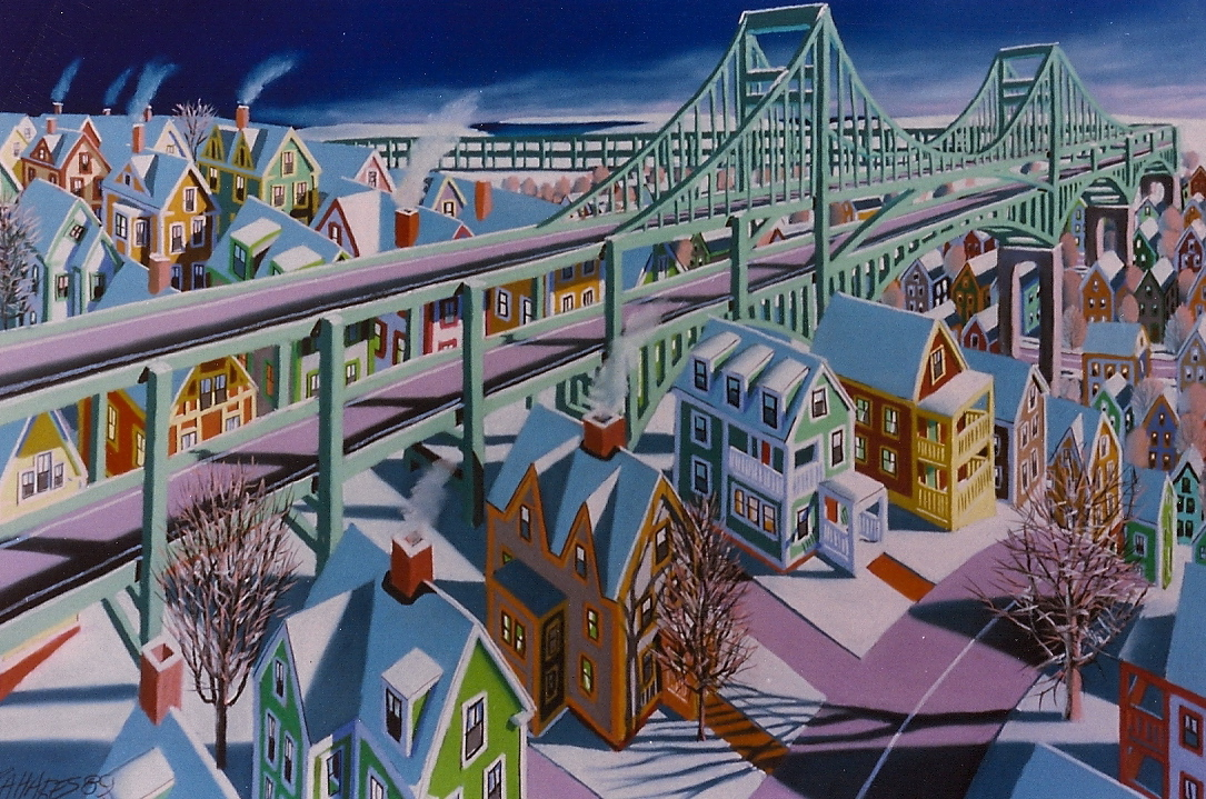 "Wade Zahares, ""On My Way to Maine,"" 1991, Rembrandt pastel on Canson, 30 x 40inches. Elevated highways and New England buildings completely saturates my work from Boston living."