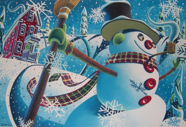 "Wade Zahares, ""Let's Go Sliding,"" 2002, Schmincke pastel on Canson, 19 x 25 inches, Developed for Frosty the Snowman in 2002, eleven years later and a few changes he finally got published."