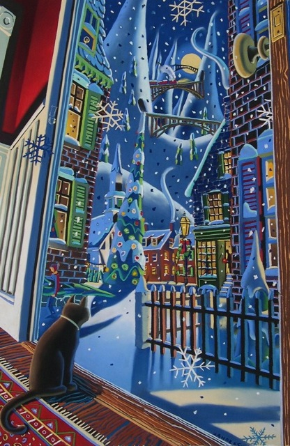 "Wade Zahares, ""Christmas Eve Cat,"" 2009, Schmincke pastel on Wallis, 24 x 35 inches. Inside looking out and outside looking in is a common theme thought my work over the years."