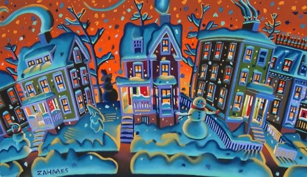 Wade Zahares, The Shortest Day, 2008, Schmincke pastel on Wallis, 24 x 30 inches. City skies on snowy nights always amused me with the strange colors that light up the night.