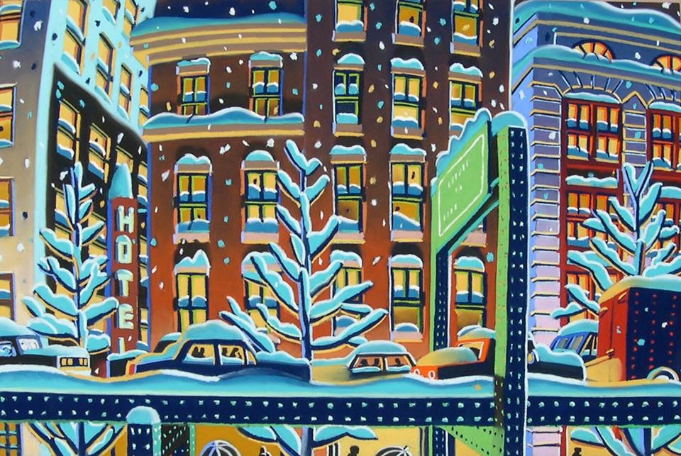 "Wade Zahares, ""City Streets,"" 2012, Schmincke pastel on Wallis, 19 x 25 inches. Driving up the elevated 93 on my way home from my studio in South Boston inspired this busy night time scene."