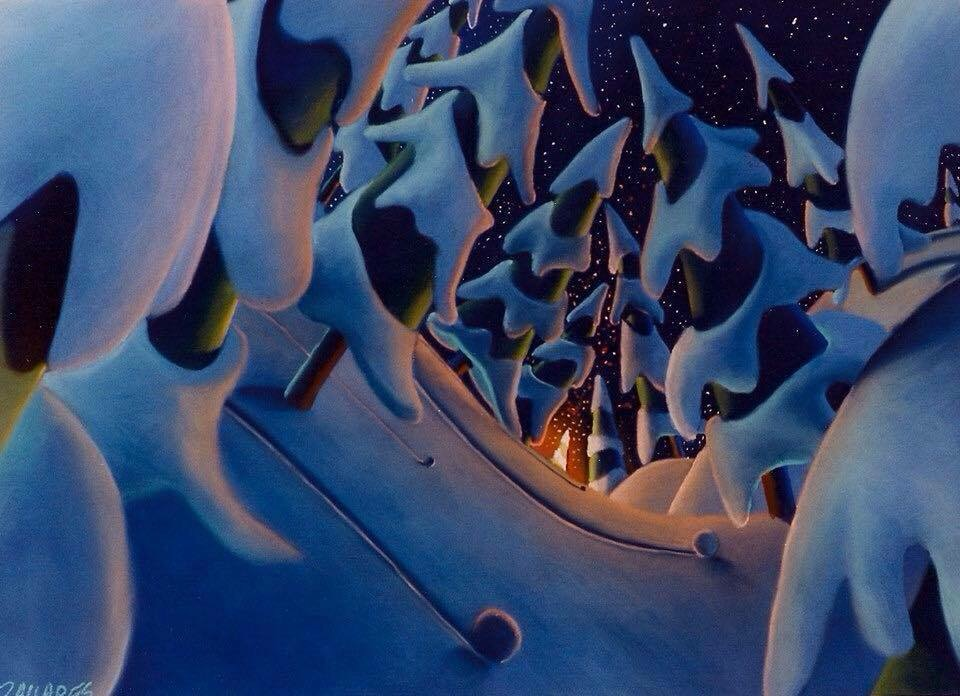 "Wade Zahares, ""They're Celebrating,"" 1997, Rembrandt and NuPastel on Canson, 25 x19 inches.. I just can't help myself with creating winter pictures in the winter. Creating snow-covered trees and warm glows was a concentration of mine for a while in the 90s. The coldest nights are the most quiet. You can hear a snowball roll down the snow covered hills. Adding a warm orange glow plays nicely against the cold blue snow."