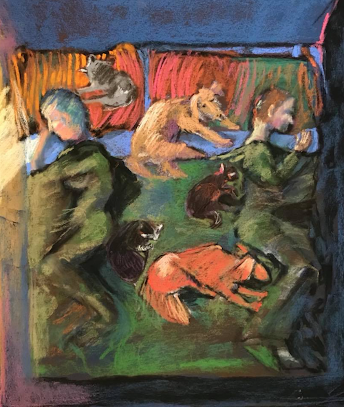 """November's Singular Pastels: Becky Harblin, """"Who Slept?"""" (#1 in series Loving and Living with Animals), pastel, 23 x 19 in"""