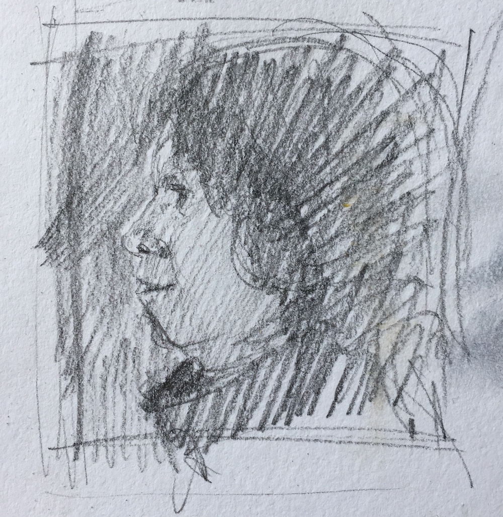 Do something, anything! Quick thumbnail sketch with HB pencil, 1 1/2 x 1 1/2 in
