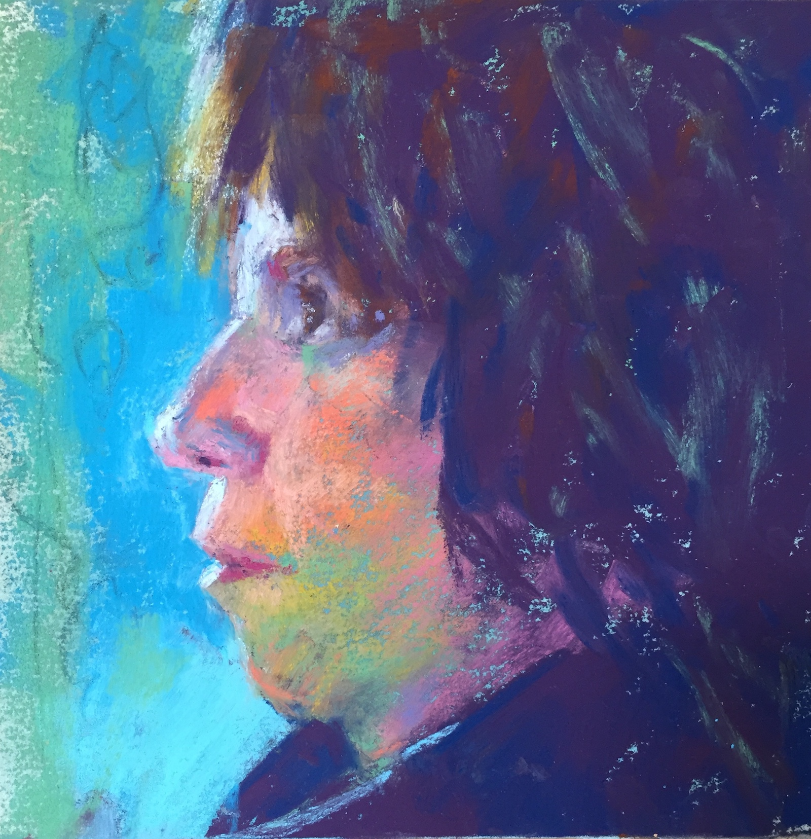 "Do something, anything! Decided to add some lighter strokes in the hair. Also changed the lighting on the cheek. And a few more final touches here and there. About 45 mins? Gail Sibley, ""Me in Profile,"" Unison pastels on UART 240 grade, 6 x 6 in."