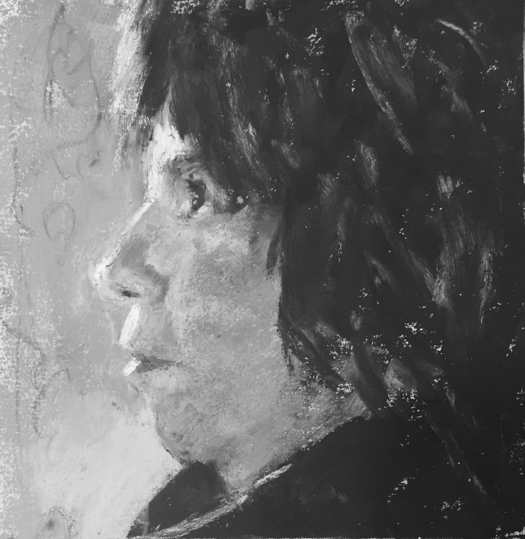 "Do something, anything! Gail Sibley, ""Me in Profile,"" Unison pastels on UART 240 grade, 6 x 6 in - in black and white"