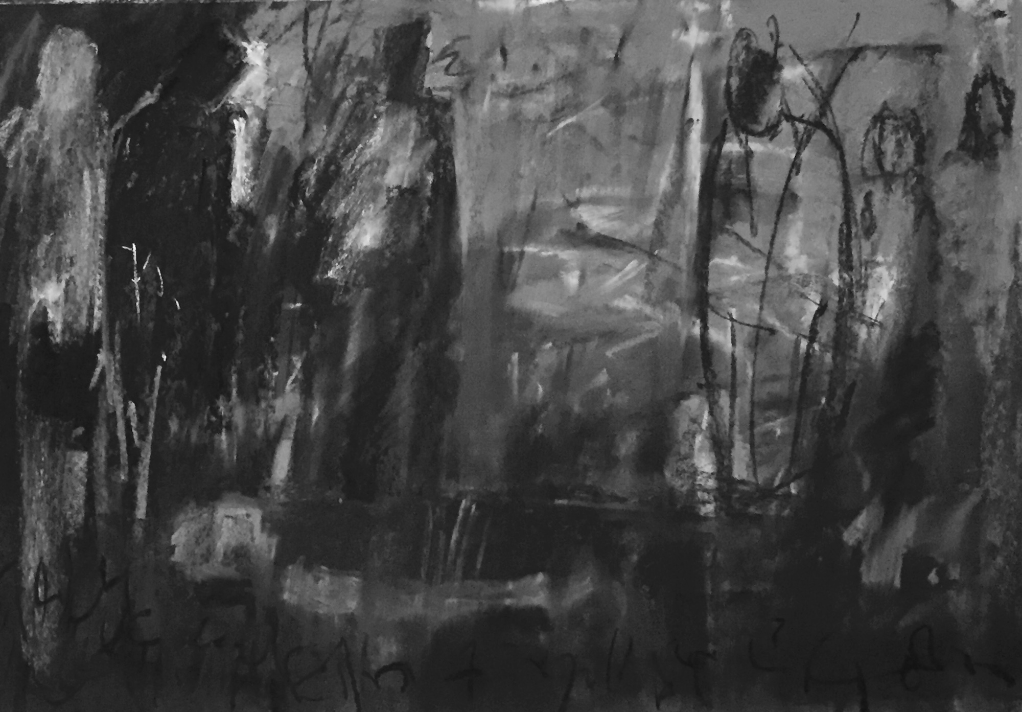 Grief and art: 10. The same image in black and white. This helps me to see what the painting needs.