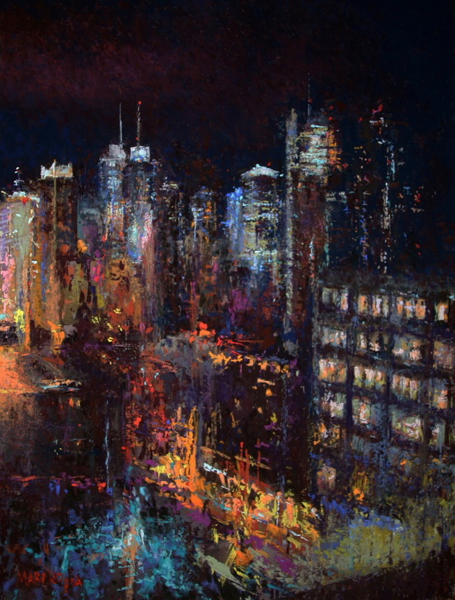 "Maria Marino, ""Hell's Kitchen Fury,"" pastel on archival board, 24 x 18 in. Sold."