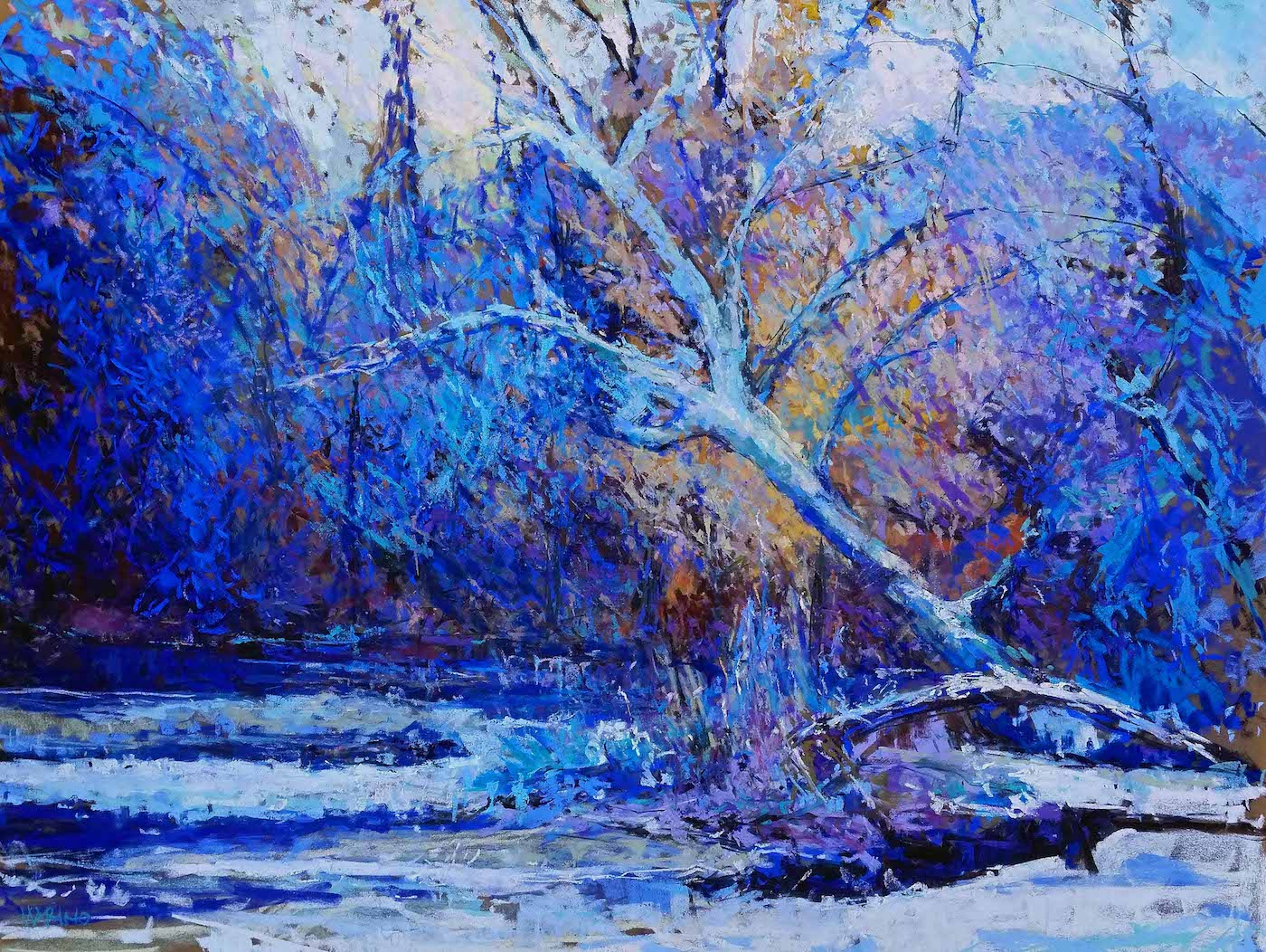 "Maria Marino, ""A Winters Passage,"" pastel on Sennelier LaCarte paper, 24 x 3 in. Available. Painted from a photo of a scene located in the Brandywine Valley, PA."