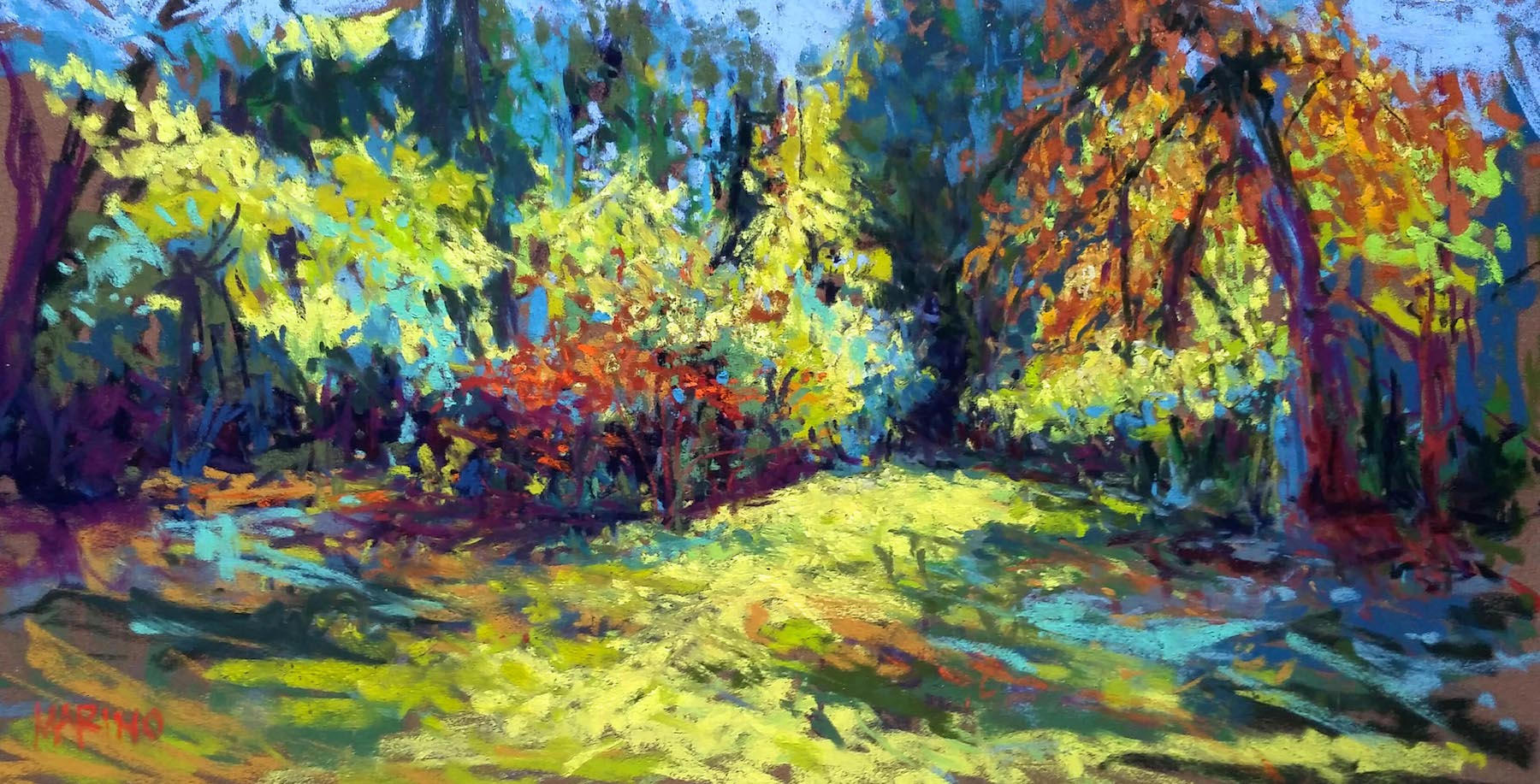 "Maria Marino, ""Autumnal Light,"" pastel on Sennelier LaCarte paper, 9 x 16 in. Sold. Plein air painting completed during an event. The image is a hedgerow of trees located at Liriodendron Mansion."