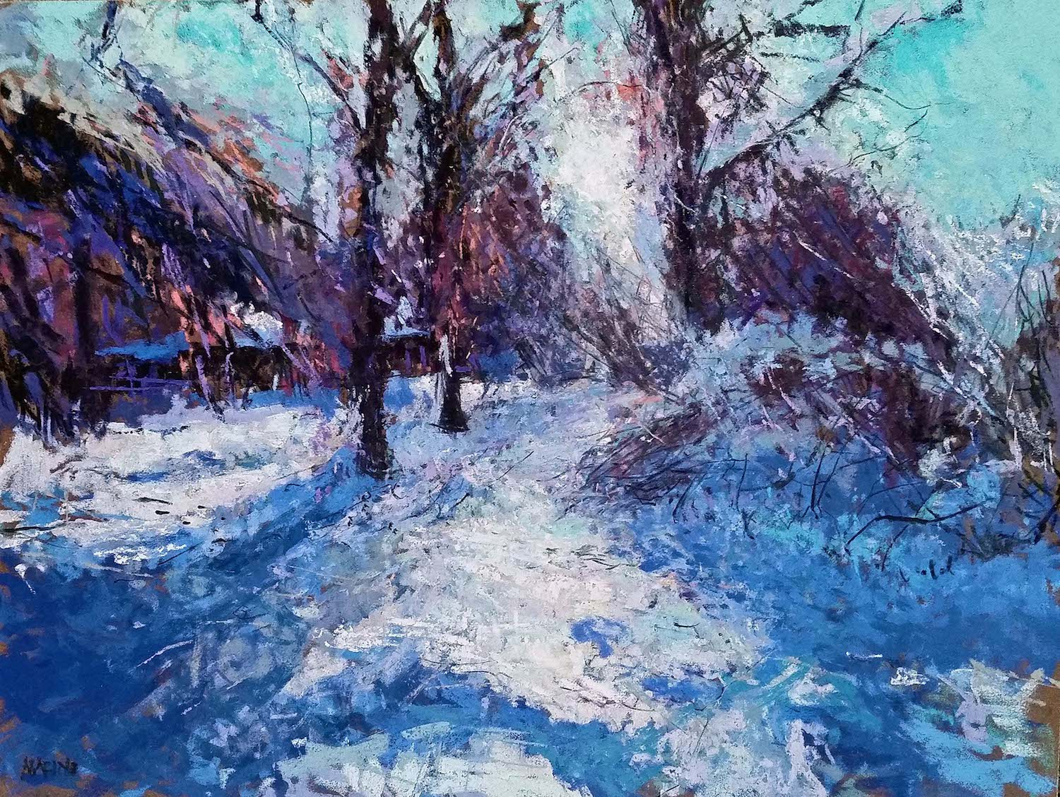 "Maria Marino, ""First Snow,"" pastel on LaCarte paper, 12 x 16 in. Sold"
