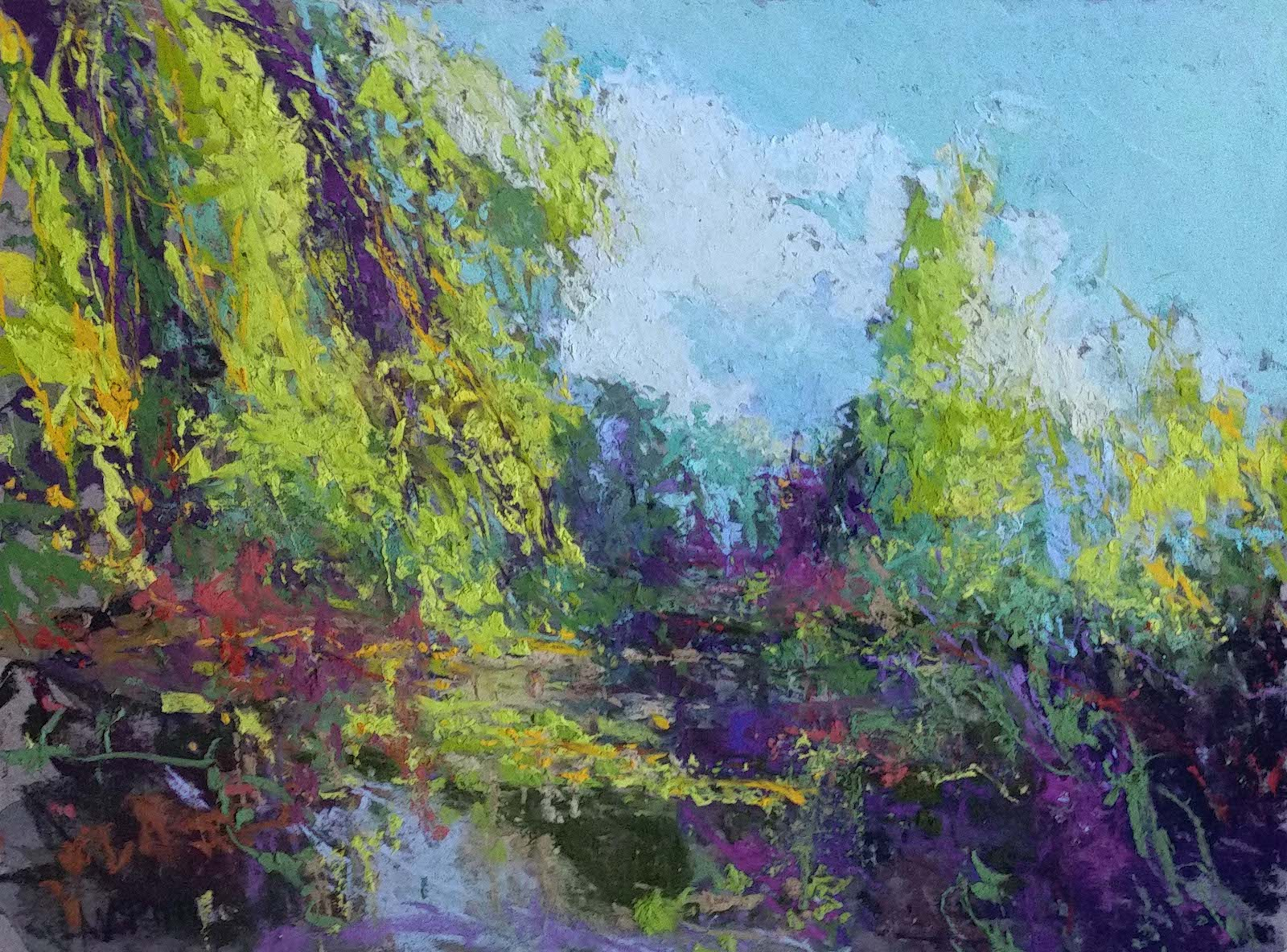 "Maria Marino, ""Le Jardin-Giverny,"" pastel on Wallis board, 12 x 16 in. Available. Painted from a photo of a view of Monet's Pond at Giverny."