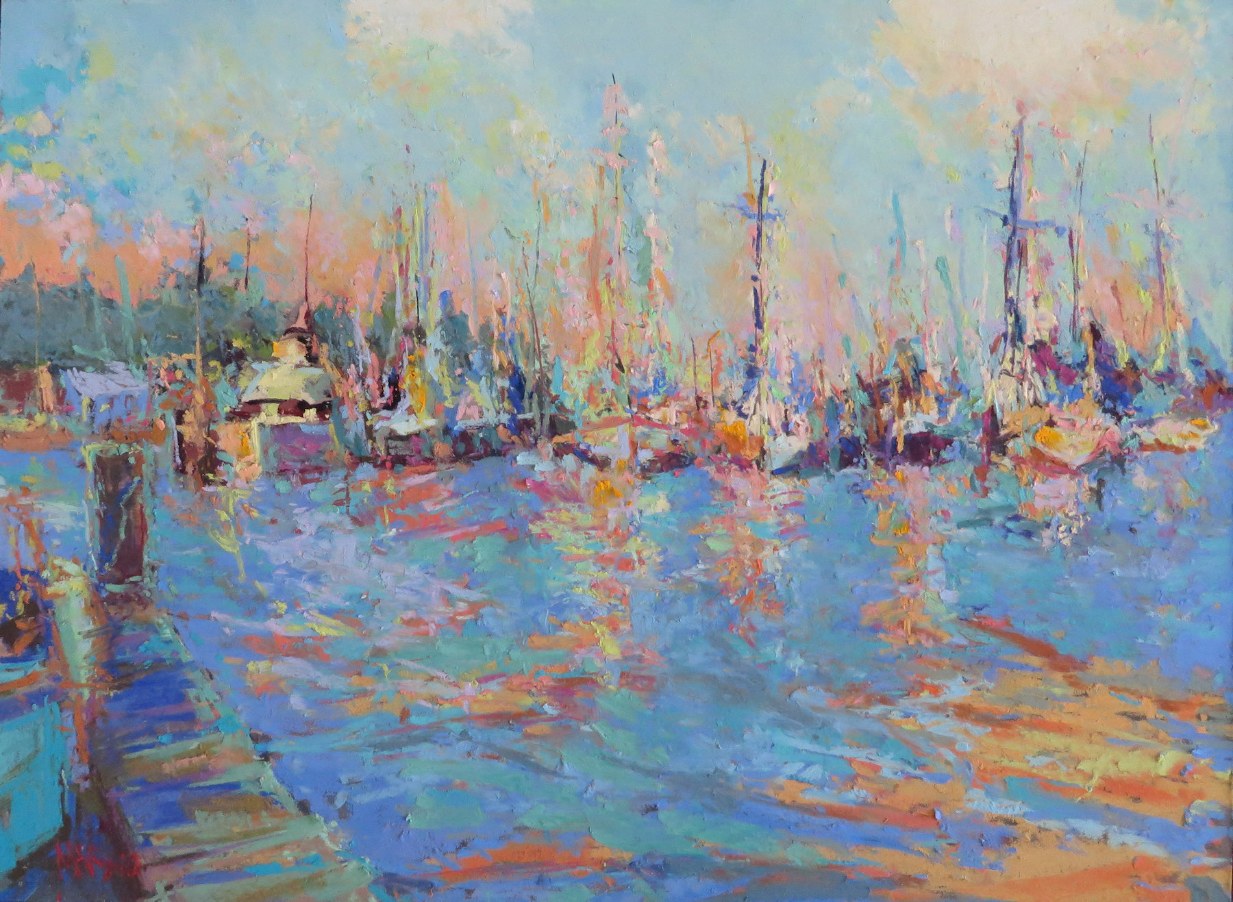 "Maria Marino, Mear Marina-Eastport,"" pastel over watercolor on UART 320 board, 12 x 16 in. Sold. Studio painting of a boatyard in Eastport, MD."