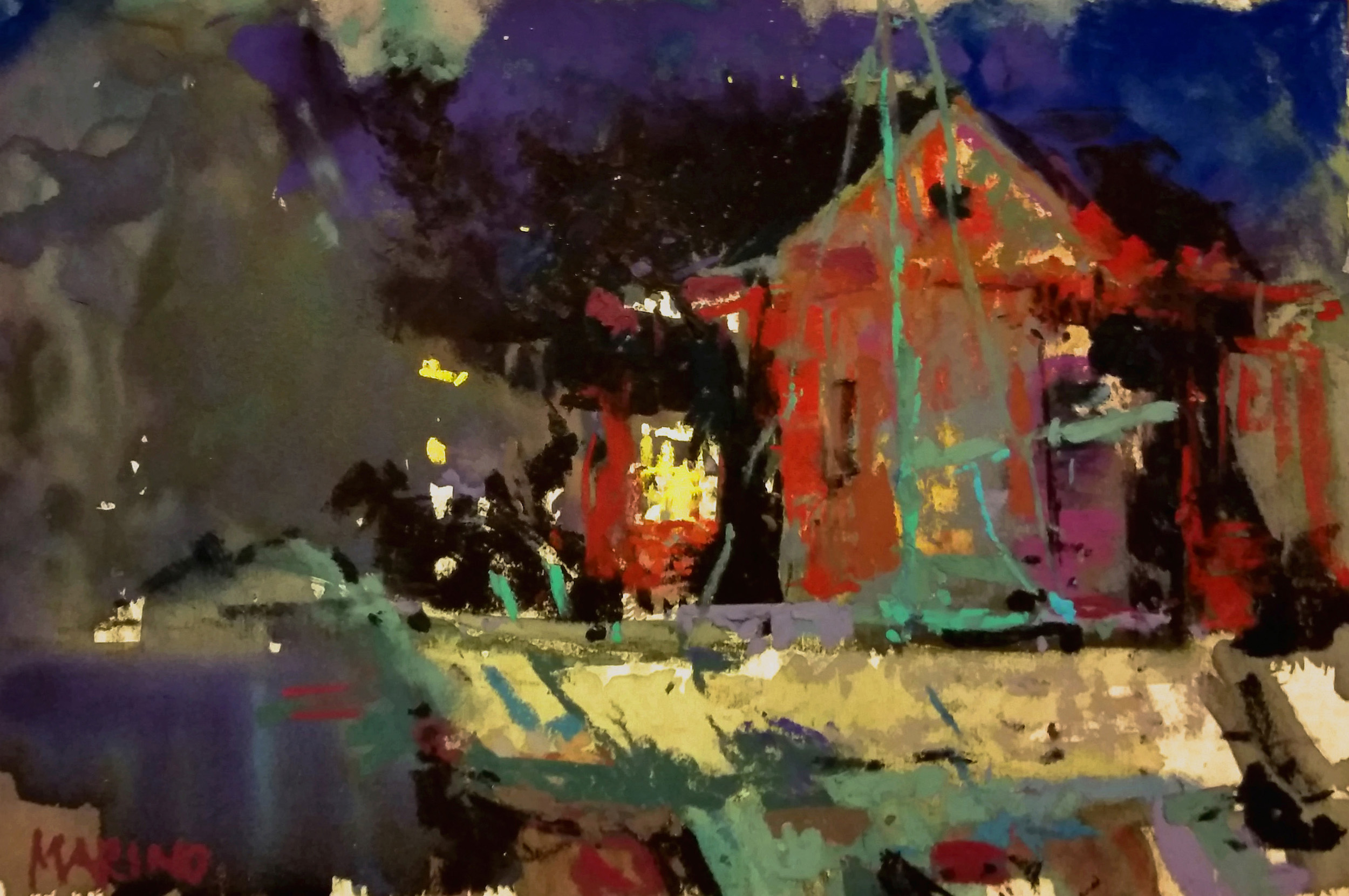 "Maria Marino,"" Nocturne-Charles St,"" pastel over watercolor on UART 320 board, 6 x 9. Sold. Painted a dry docked boat in boatyard (nocturne) plein air at Solomon's Plein Air event."