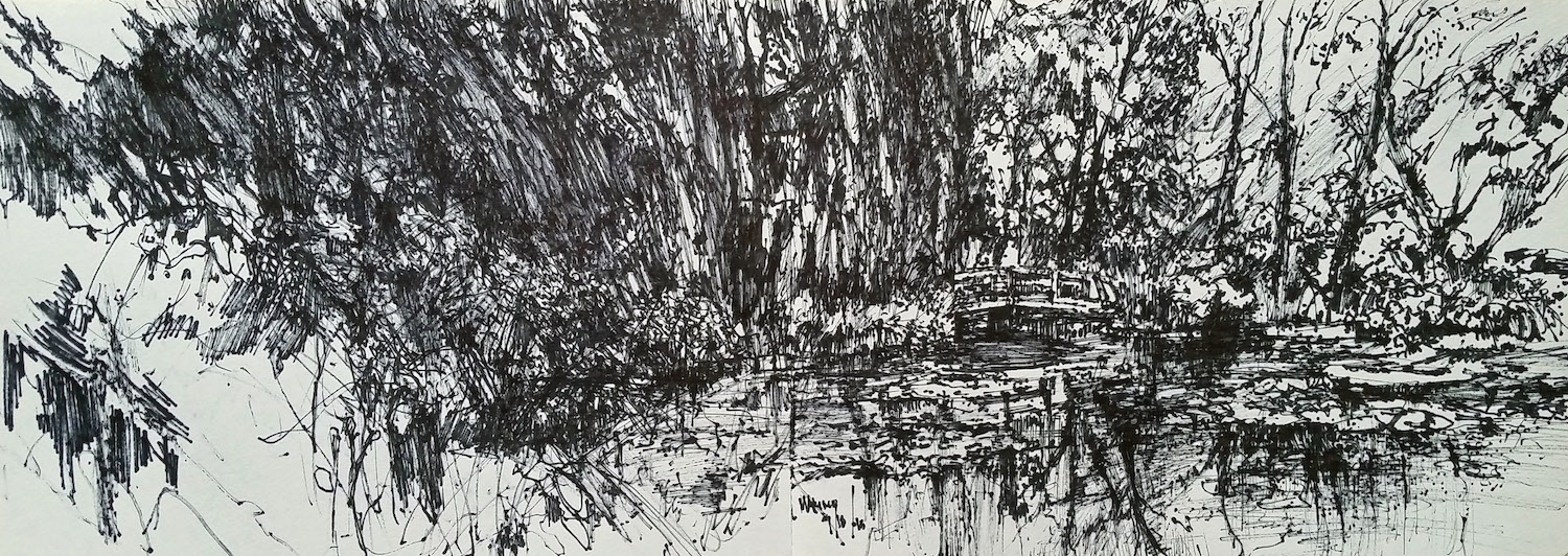 "Maria Marino, ""Pond at Giverny,"" felt tip pen on rag paper, 9 x 24 in. NFS. A sketchbook drawing completed with a felt tip pen."