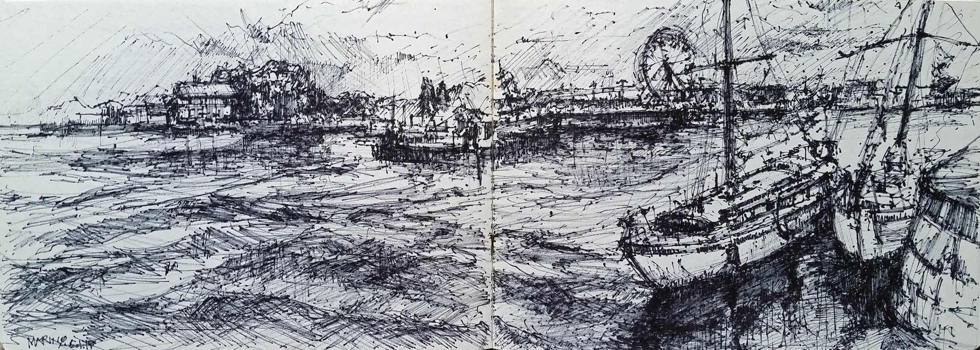 "Maria Marino, ""Port of Honfleur,"" felt tip pen on rag paper, 9 x 24 in, NFS. A sketchbook drawing completed with a felt tip pen. Great way to nail down strong values in a drawing."