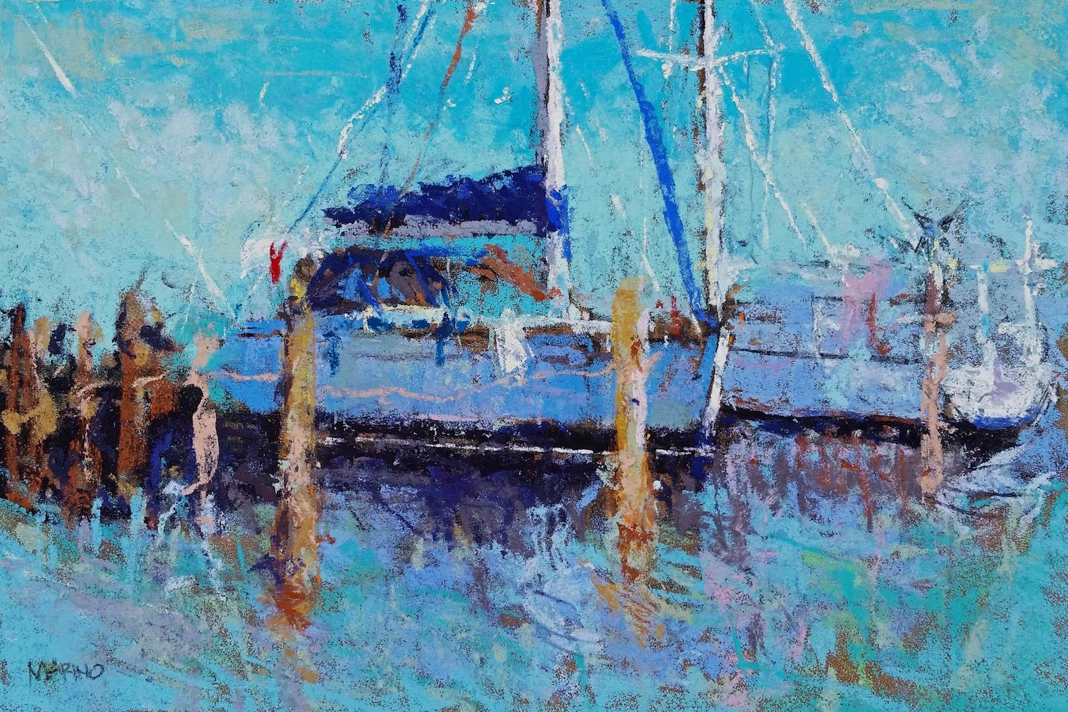 "Maria Marino, ""Ready to Sail,"" pastel on Sennelier LaCarte paper, 6 x 9 in. Sold. Painted from a photo of a scene located in Eastport, MD which is located next to Annapolis, MD (sailing capital of the world)."