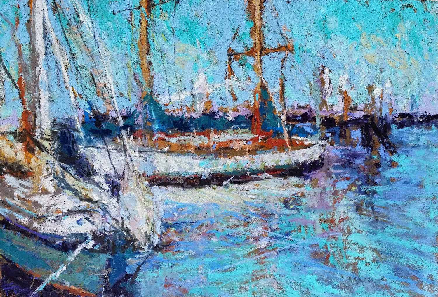 "Maria Marino, ""Sailmates, pastel on Sennelier LaCarte paper, 6 x 9 in. Available. Painted from a photo of a scene located in Mystic, CT."