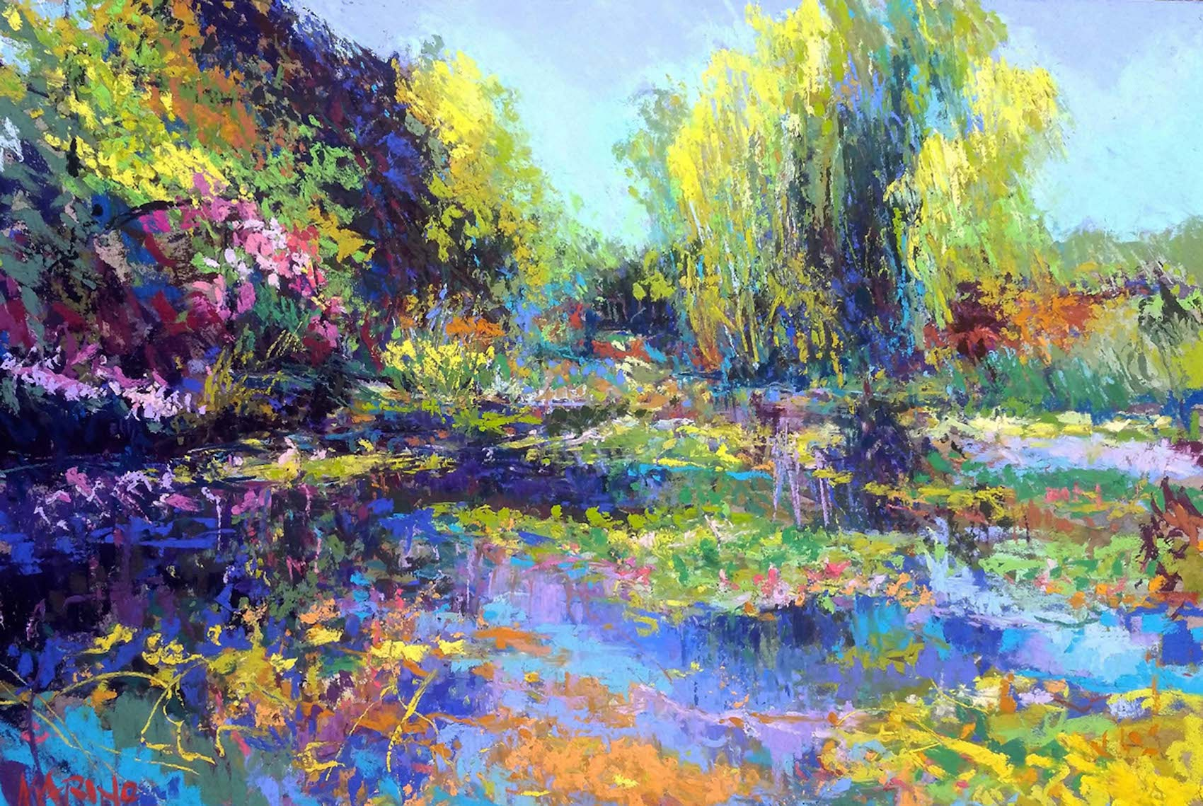 "Maria Marino, ""Soleil,"" pastel over watercolor on Wallis board, 12 x 18 in. Available. Painted from a photo of a view of Monet's Pond at Giverny."