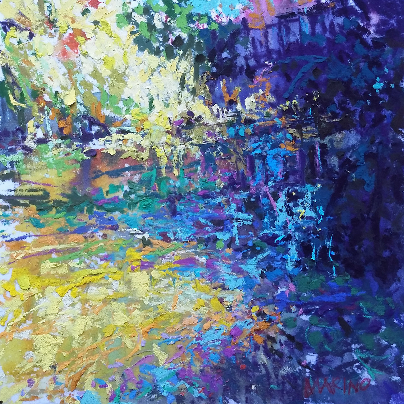 "Maria Marino, ""Summer Light Reflections,"" pastel on Multimedia Board, 6 x 6 in. Sold. Painted from a photo of a view of William Paca House Gardens, Annapolis, MD. (abstract microcosm)"