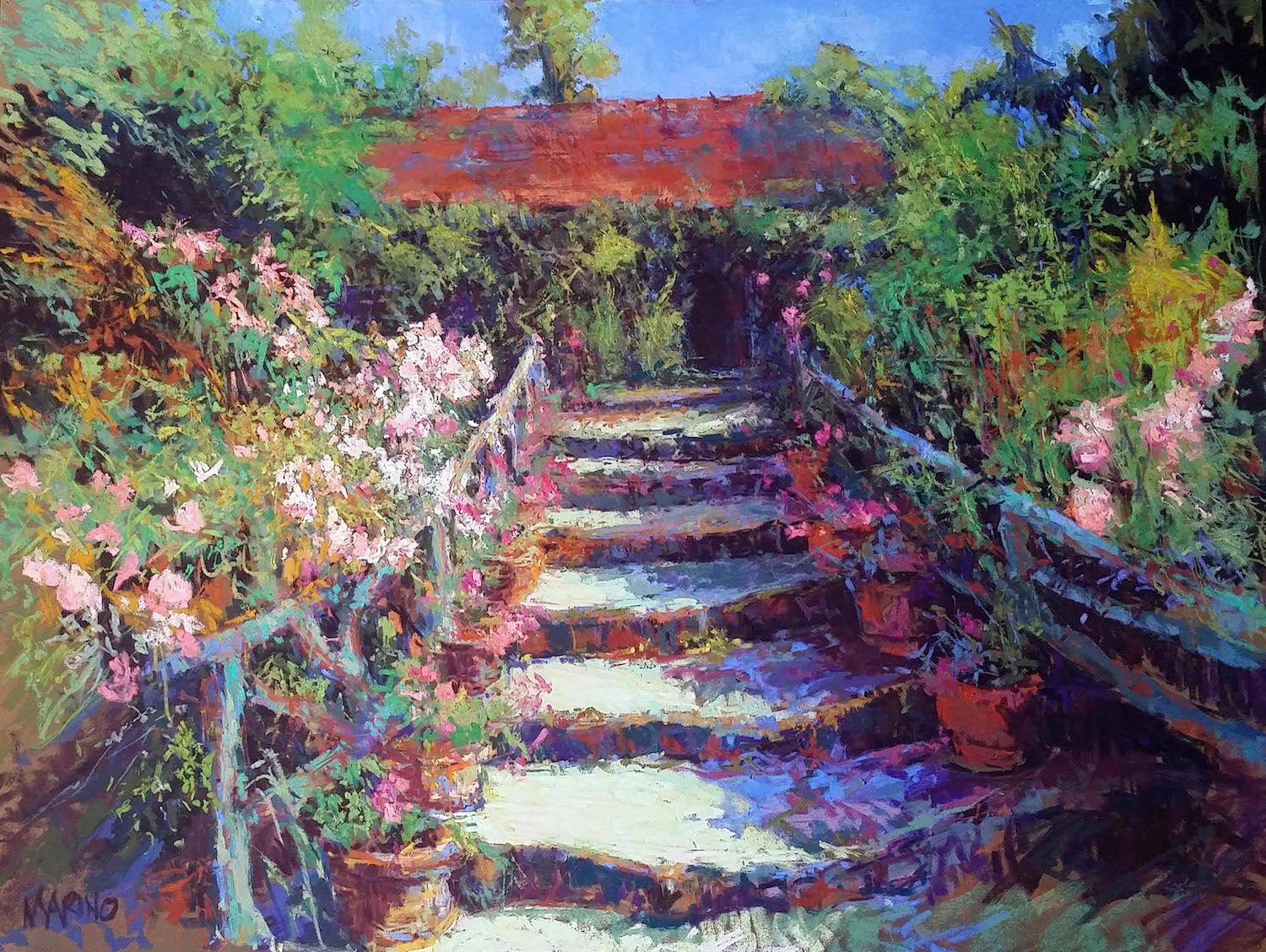 "Maria Marino, ""The Breath of Spring,"" 2015, pastel on Sennelier LaCarte paper, 24 x 31 in. Sold. Painted from a photo of a view of an artist's atelier located in the rear of Hotel Baudy-Giverny."