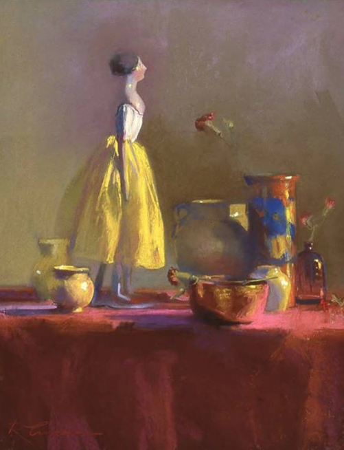 """December's Pastel Treasures: Rainie Crawford, """"Papier Mâché Doll with Yellow and Red,"""" pastel, 20 x 16 in"""