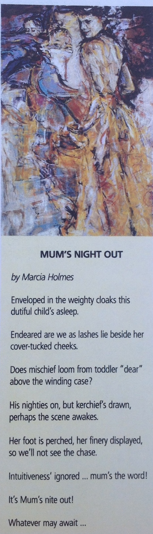 """Marcia Holmes, """"Mum's Night Out,"""" Poem & Painting published in Inside Northside Magazine, 2004"""
