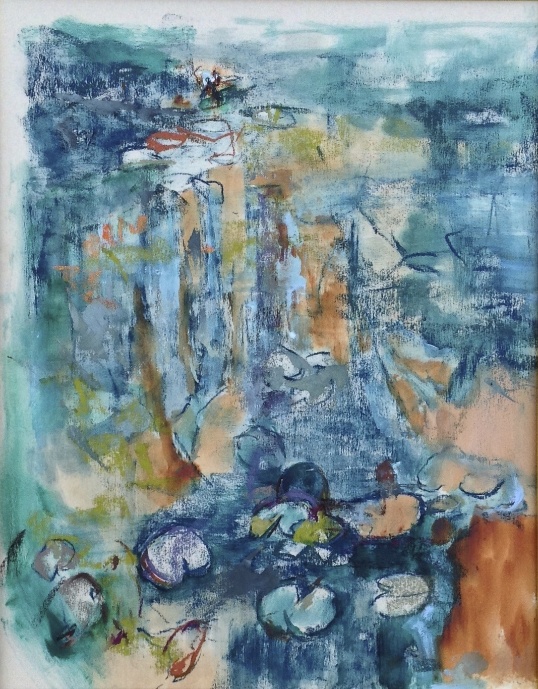 """Marcia Holmes, """"Pond Impression,"""" 2014, pastel, 14 x 11 in. Sold. Painted en plein air, Giverny, France."""