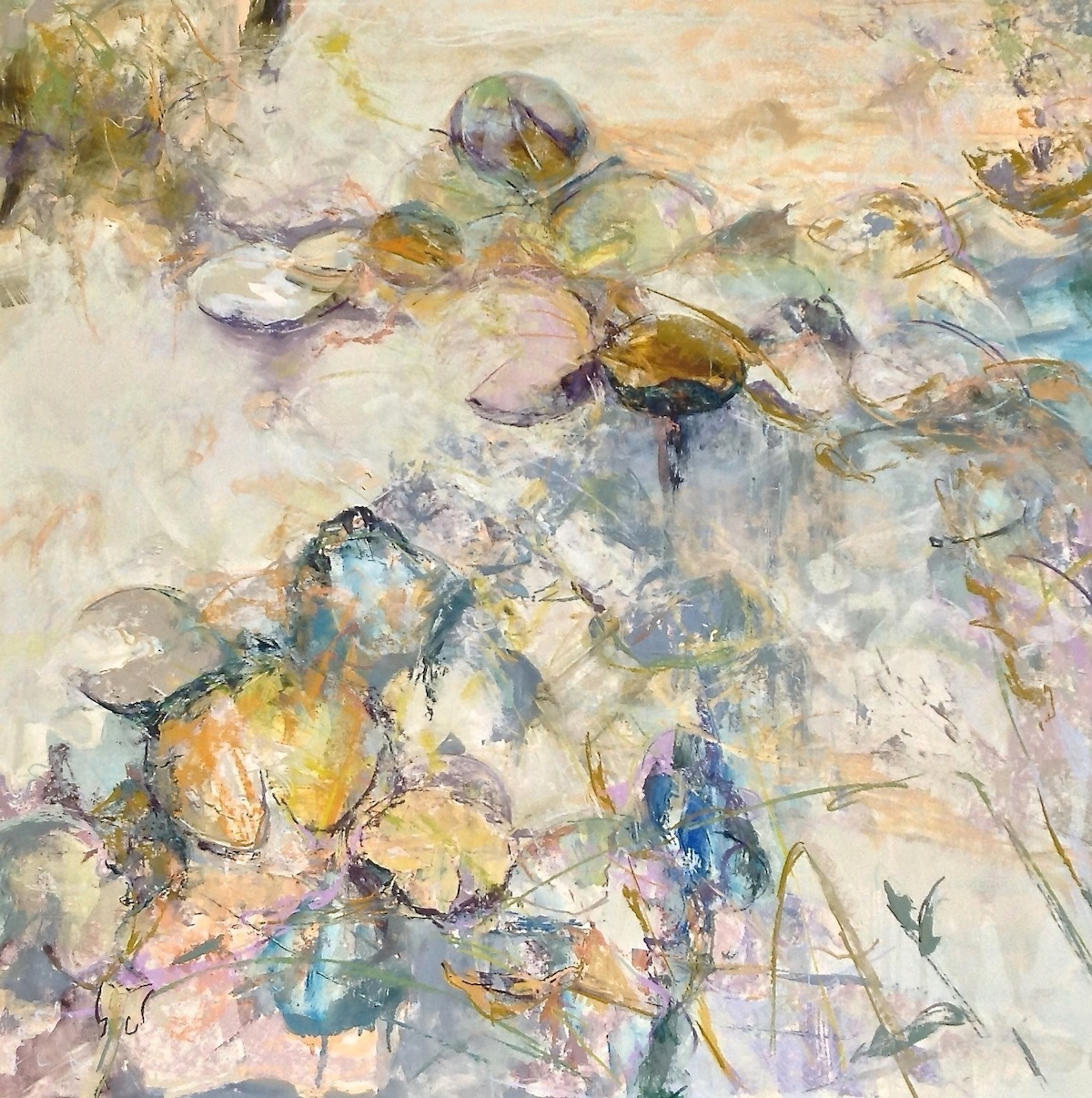 """Marcia Holmes, """"Water's Essence IX,"""" 2015, mixed media/pastel, 32 x 32 in. Sold."""