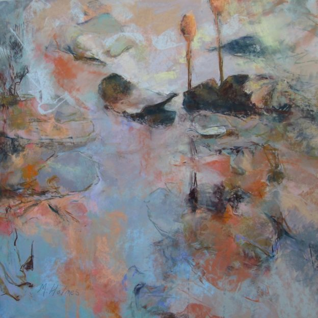 "Marcia Holmes, ""Floating at Dusk,"" 2016, pastel, 26 x 26 in. Sold."