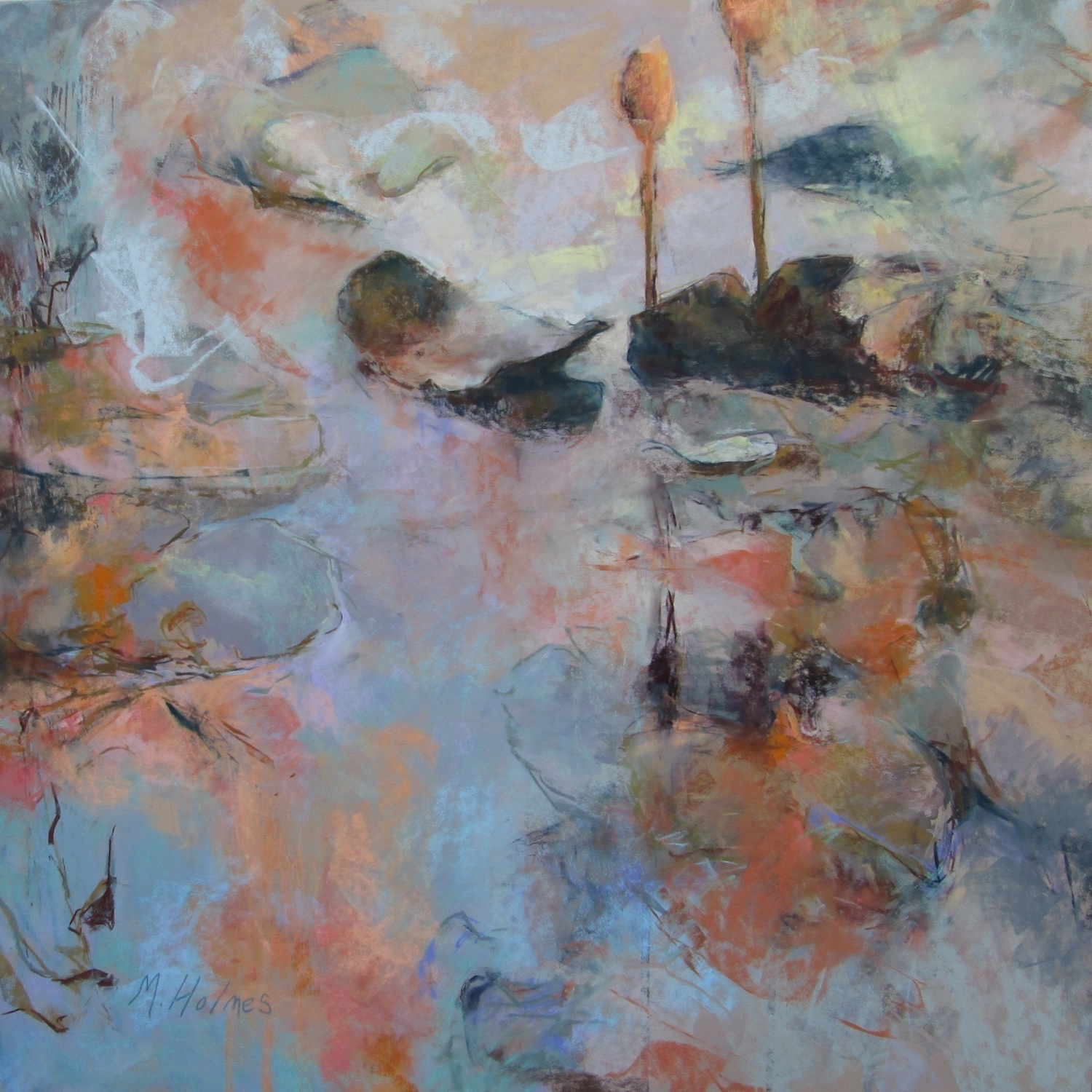 """Marcia Holmes, """"Floating at Dusk,"""" 2016, pastel, 26 x 26 in. Sold."""