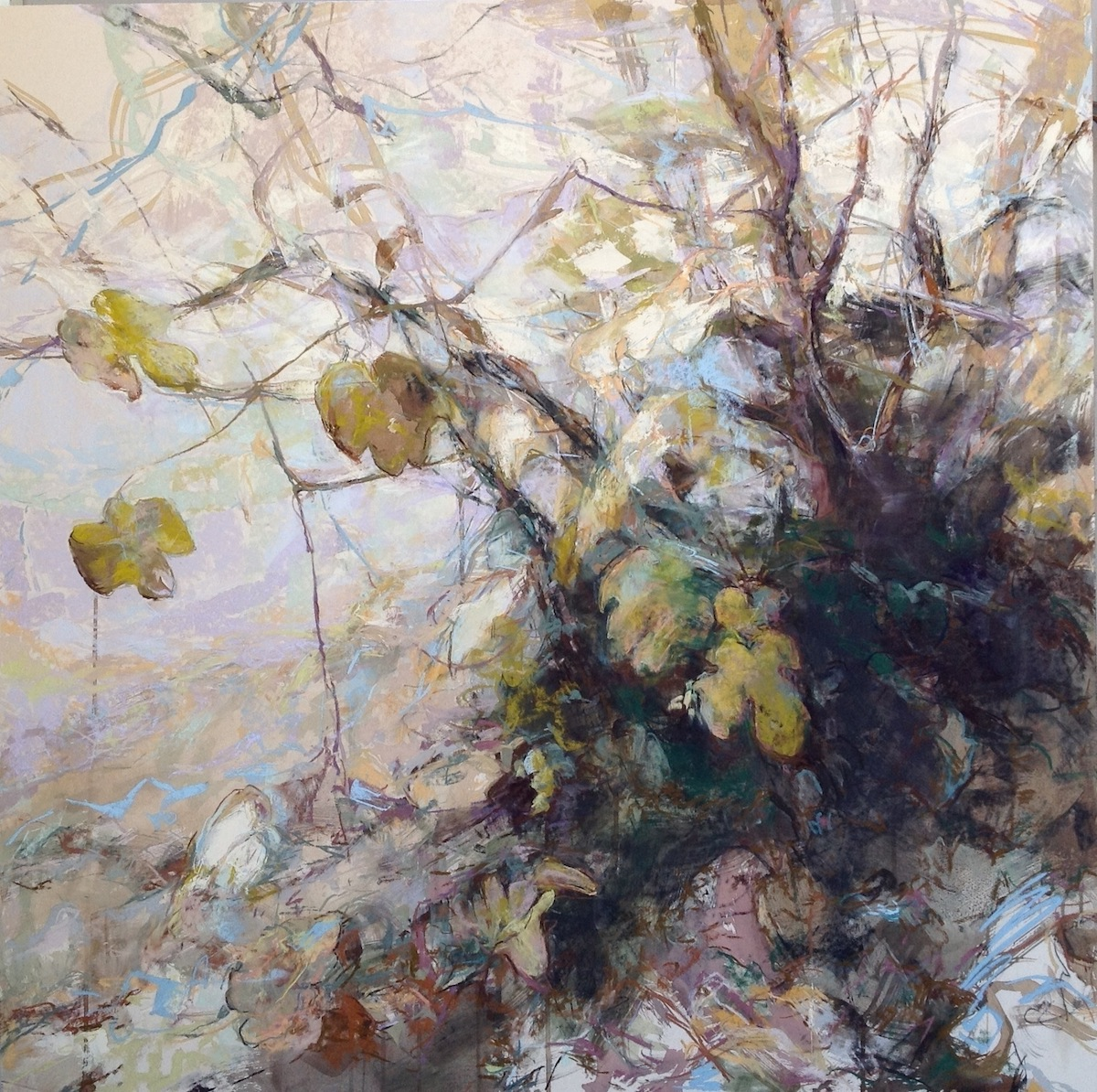 """Marcia Holmes, """"Fig Leaves Fall in Tuscany,"""" 2017, pastel, 40 x 40 in. Sold. This painting won 2nd place in a UART Web Exhibition and was a 2018 finalist in The Artist's Magazine annual competition."""