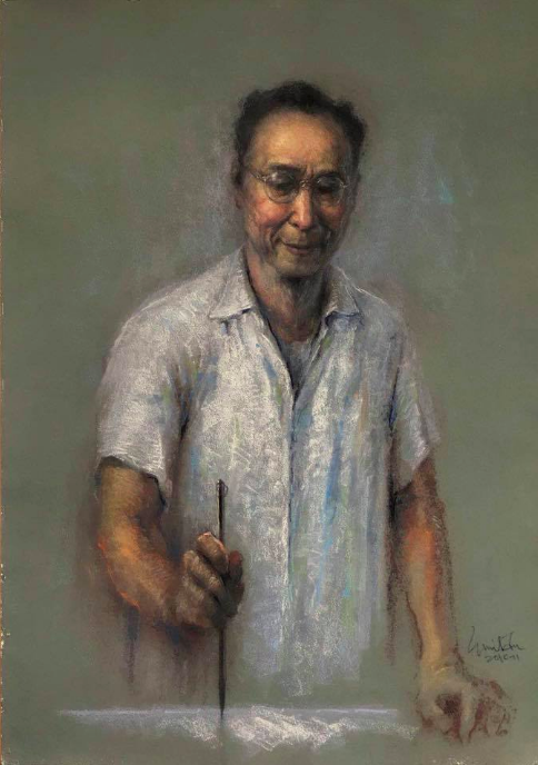"""January's Striking Pastels: Emil Fu, """"Portrait of the painting master Ren-ding Fang,"""" Marie pastel on Chinese made sanded paper, 76 x 57 cm"""