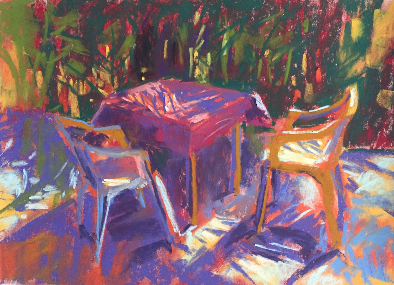 Chaos of Light And Shadow: 8. I now concentrate on creating areas of light - on the chairs, the table, the patio, and the area behind the plants.