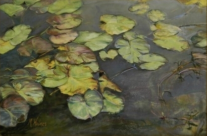 """Marcia Holmes, """"Foggy Morning Lilies,"""" pastel on paper, 24 x 36 in"""