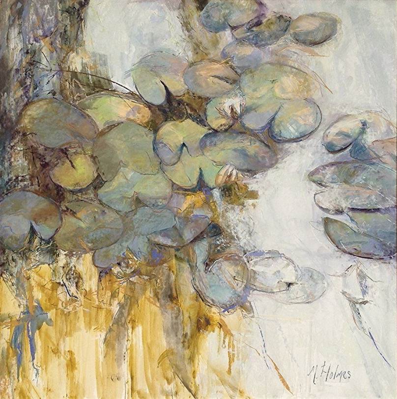 """Marcia Holmes, """"Water's Essence X - Amuse II,"""" pastel on paper, 36 x 36 in. Sold."""