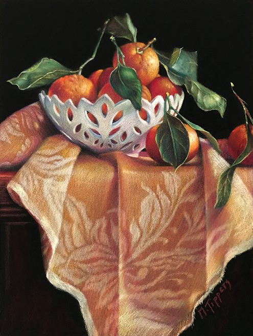 """January's Striking Pastels: Marie Tippets, """"The White Bowl,"""" pastel on LaCarte paper, 12 x 9 in"""
