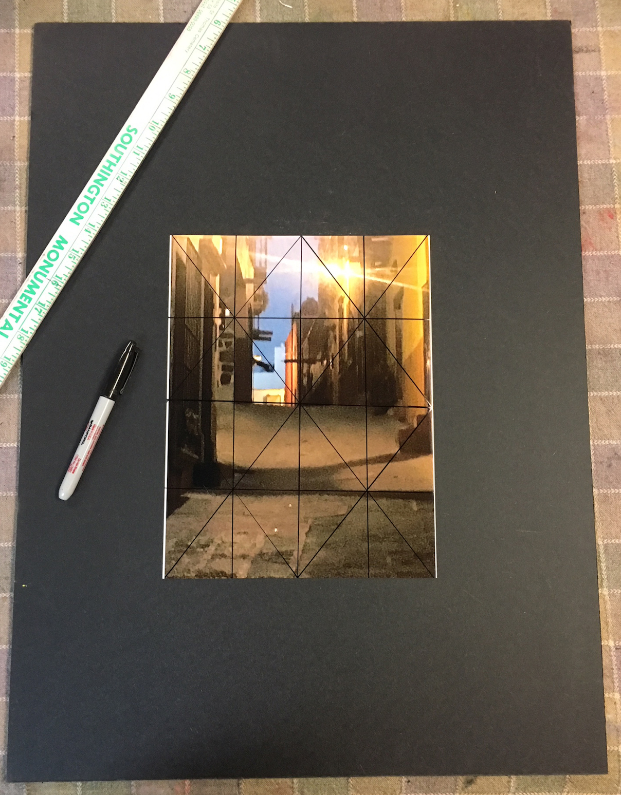 Chris Ivers: Step 9. The grid drawn on the colour photo