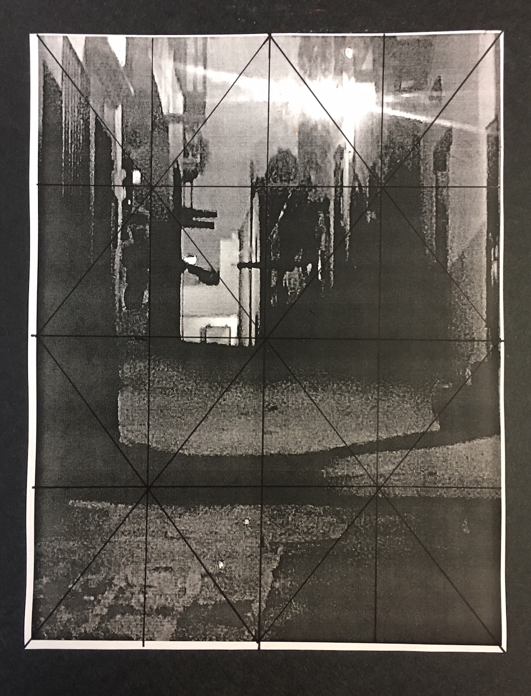 Chris Ivers: Step 10. The grid drawn on the black and white photo