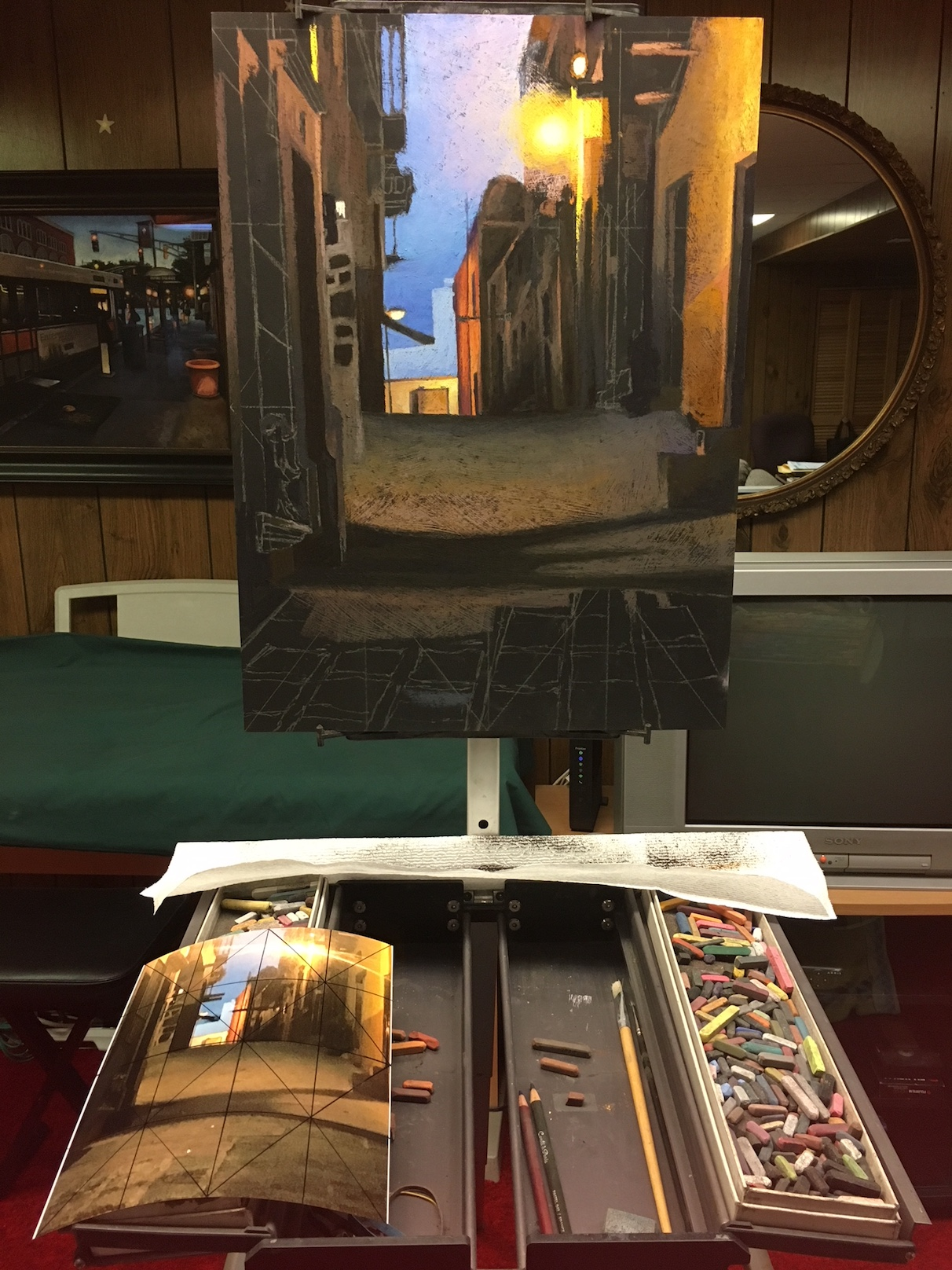 Chris Iver studio: Work in progress with palette and reference photo