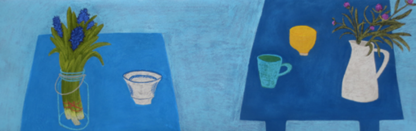 "February's awe-inspiring pastels: Angela A'Court, ""Blue Room,"" soft pastel on paper, 12 5/8 x 59 1/4 in (32 x 150 cm)."