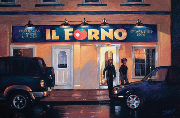 """Chris Ivers, """"Late Night Takeout,"""" pastel on Wallis Museum paper, 17 x 23 in."""