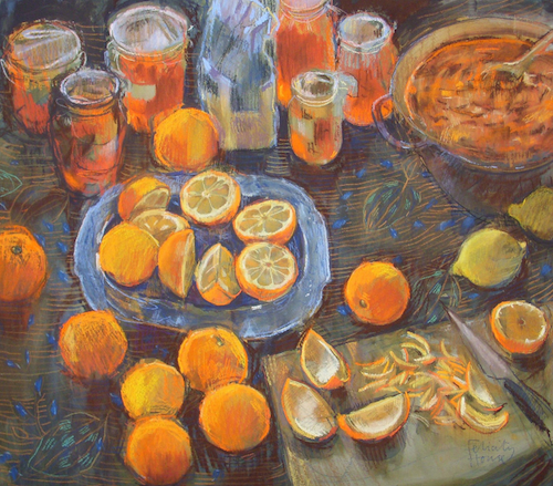 "February's awe-inspiring pastels: Felicity House, ""Making Marmalade,"" pastel, 14 x 18 in (36 x 46 cm)"