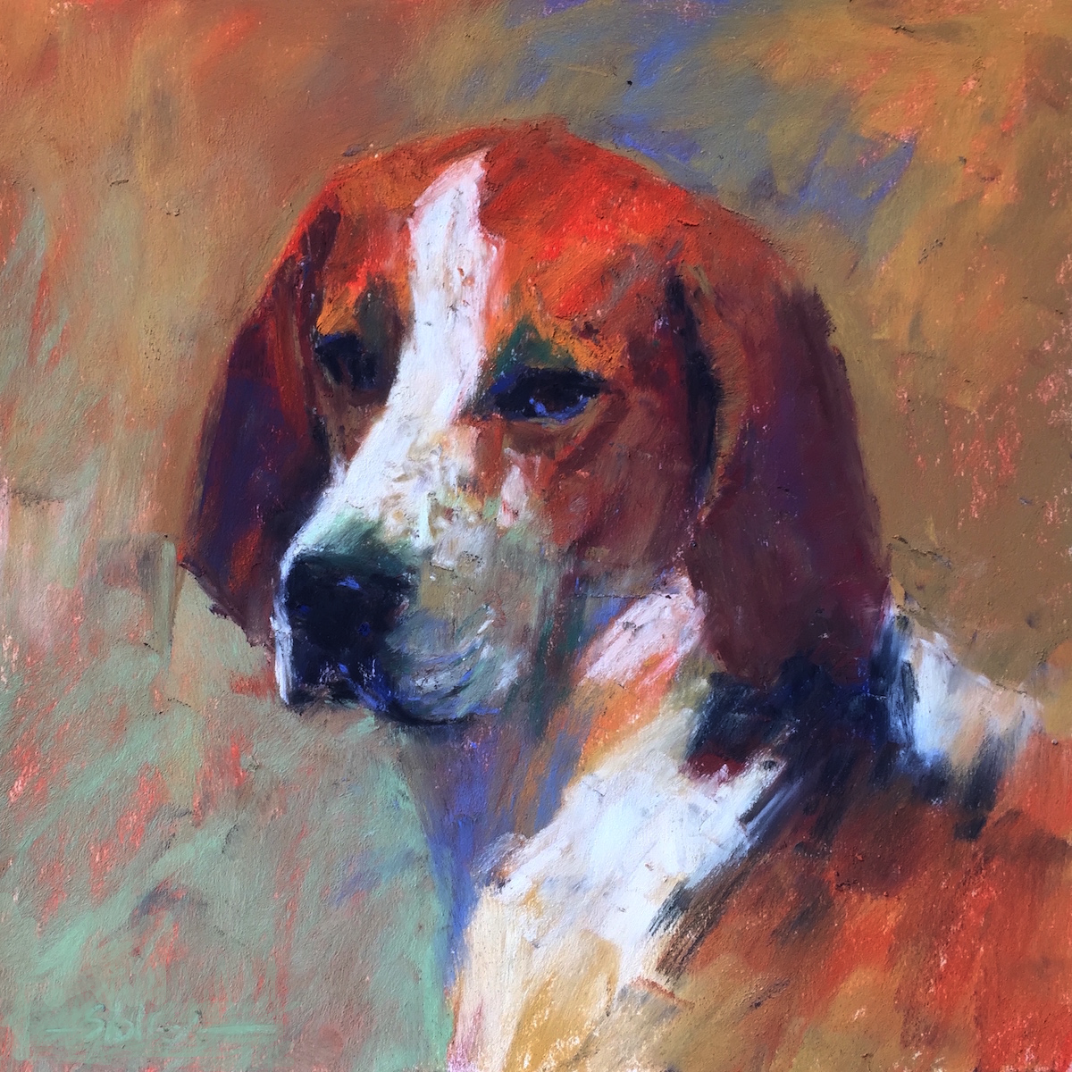 "Painting the Unfamiliar: Gail Sibley, ""Cavelier,"" Mount Vision pastels on Pastel Premier (white) paper, 9 x 9 in"