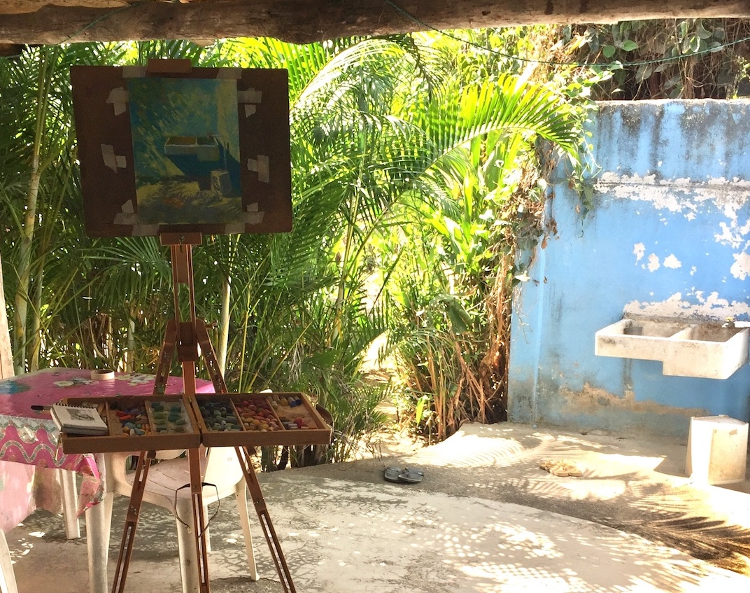 The Art of Cropping: Easel set up with pastel almost finished.