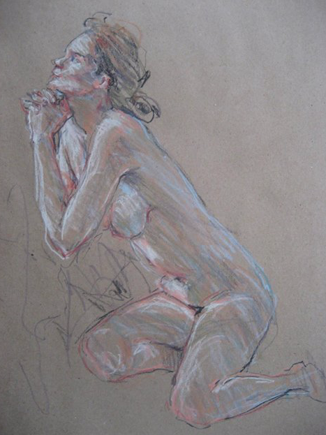 "February's awe-inspiring pastels: Marianne van der Veer, ""Life Model 20 min pose,"" pastel pencils, 11 x 8 in"